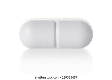 Medical pill tablet isolated on white, clipping path included
