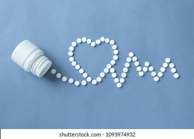 medical pills in the form of heart and cardiogram, capsules on a blue background. concept of a healthy heart,