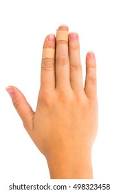Medical plasters on her fingers. On white, isolated background. Top view. Flat lay