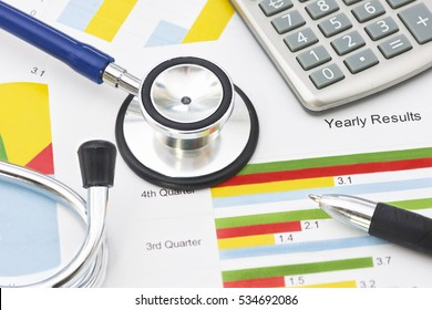 Medical practice financial analysis charts with stethoscope and calculator.