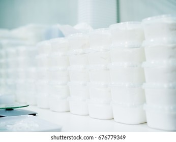 Medical production. Health care industry. Producing white gel, creme.