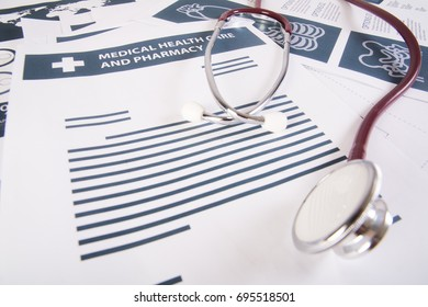Medical records report and stethoscope. Medical concept.