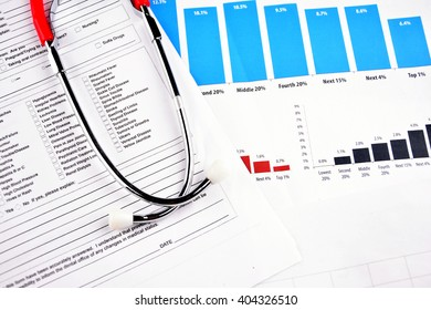 Medical Report with Shethoscope. Medical and Healhcare Concept