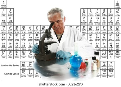 """a medical research scientist or chemist works on a cure for something to help mankind. isolated on white with room for your text, with the """"periodic table of chemical elements"""" in the background."""