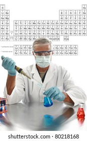 """a medical research scientist or chemist works in his laboratory with the table of """"periodic chemical elements"""" aka """"periodic table"""" with room for your text"""