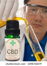 medical researcher with CBD oil