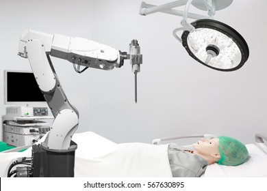 Medical robot operation involving performing surgery on model human Laparoscopy in operating room at modern hospital