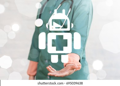 Medical Robotics Information Innovative Technology Integration concept. Doctor offers robot icon on a virtual graphical user interface.