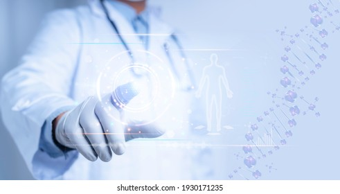 Medical science and biotechnology.Doctor touch on virtual interface with analysis chromosome DNA genetic of human