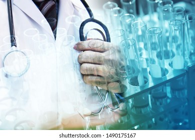 Medical science research and development concept - Doctor and stethoscope