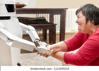 medical service robot is giving a mentally disabled woman the hand, learning with an artificial  intelligence