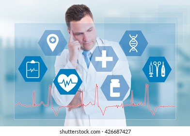 Medical services with pensive doctor and medical signs on a futuristic touchscreen