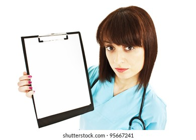Medical sign. Young woman doctor / nurse showing empty blank clipboard sign with copy space for text. Isolated over white background.