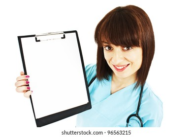 Medical sign. Young woman doctor / nurse showing empty blank clipboard sign with copy space for text. Isolated on white background
