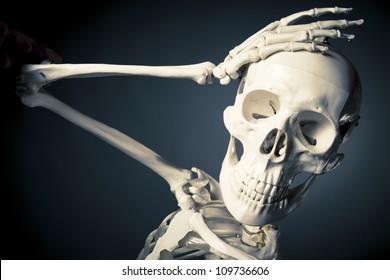 medical skeleton model with dramatic light