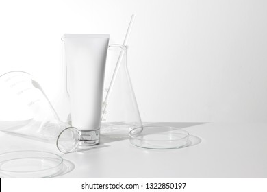 medical skincare object mockup, healthcare and product spf sunscreen, lotion cosmetic beauty facial cream container with lab science glass test tube bottle package product mockup on white background