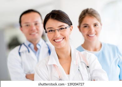 Medical staff at the hospital looking happy
