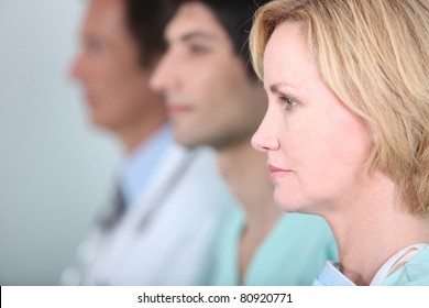 Medical staff in line