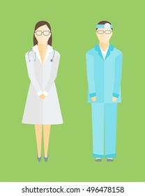 Medical Staff Man and Woman for Emergency and Hospital. Flat Design Style. illustration