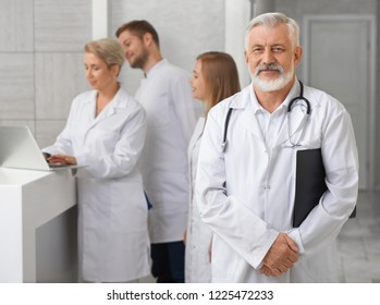 Medical staff of modern private hospital. Old male doctor with grey hair looking at camera, posing and holding black folder. Professional ENT doctor wearing in medical uniform, having stethoscope.