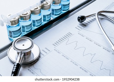 Medical statistics. Healthcare medical infographic, doctor health stethoscope and analysis vaccination statistics on hospital background. Global economy recovery after Covid 19 concept