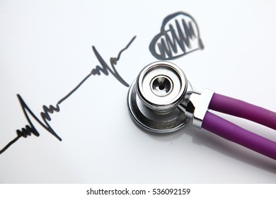 Medical stethoscope with cardiogram lying on desk in hospital.