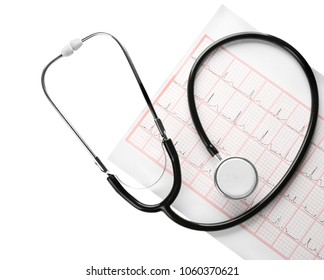 Medical stethoscope with cardiogram sheet on white background. Health care concept