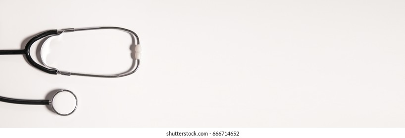 Medical stethoscope isolated with white background. Medical concept. Free space for your text