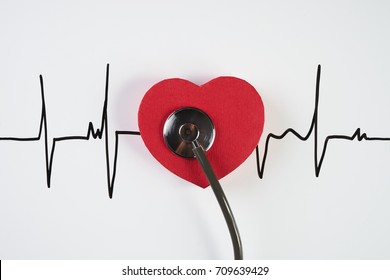 Medical stethoscope and red heart with cardiogram isolated on white. Cardiac therapeutics assistance, pulse beat measure document, arrhythmia pacemaker medical healthcare concept