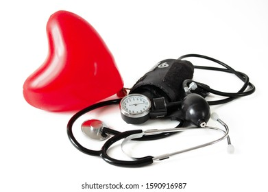 Medical stethoscope with red вalloon heart isolated on white background. Medical concept. February National Heart Month