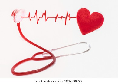 Medical stethoscope and red heart with rhythm wave on medical concept on white background