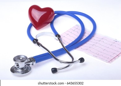 medical stethoscope, RX prescription and red heart isolated on white background. selective focus.