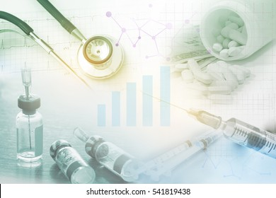 medical stethoscope , syringe and vaccine drug and pills, health care costs or medical insurance ,medical purchasing concept with graph