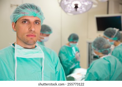 Medical student in surgical gear at the university