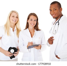 Medical students. All on white background.