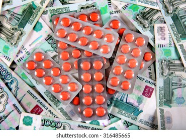 Medical Supplies on the Russian Currency Background