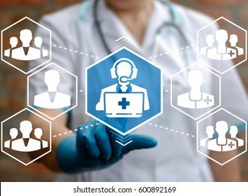 Medical support concept. Health care faq service. Help desk hospital. Q&A medical healthcare guide technology. Medicine call center (hot line). Doctor touched operator laptop icon on virtual screen