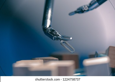 Medical surgical room healthcare intelligence in hospital with robotic innovation technology equipment, machine arm surgeon in futuristic operation room. Minimal invasive bariatric surgical inovation