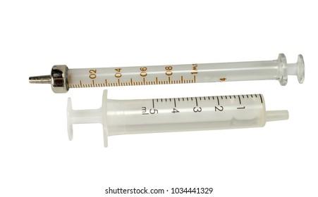 Medical syringes on white background