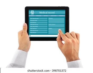 Medical tablet in doctor hands isolated on white