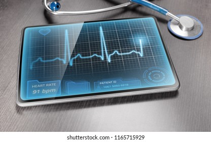 Medical tablet on wooden table displaying ECG