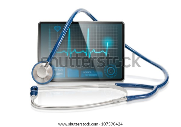 Medical tablet showing cardiogram on display and a blue stethoscope, isolated on white background.