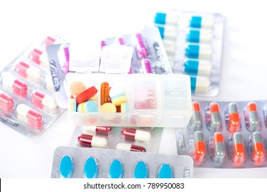 medical tablets in daily pill box