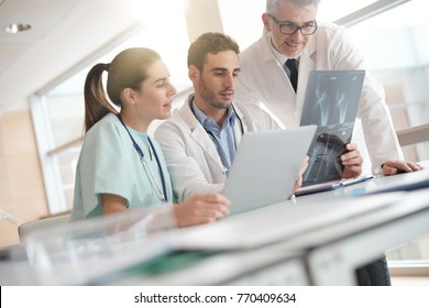 Medical team checking Xray results