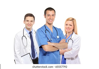 A medical team of doctors, men and woman, isolated on white background