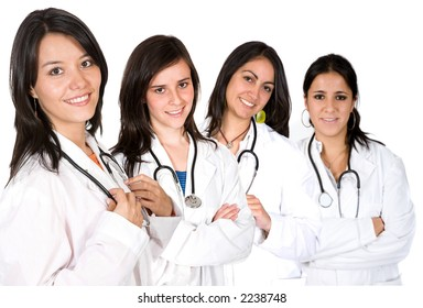 medical team with female doctors over a white background