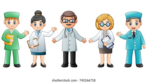 Medical team isolated on white background. Doctor and Nurse
