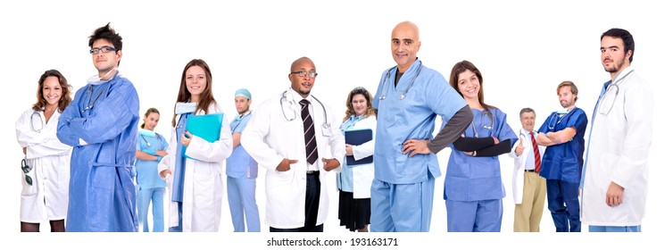 Medical team isolated in white