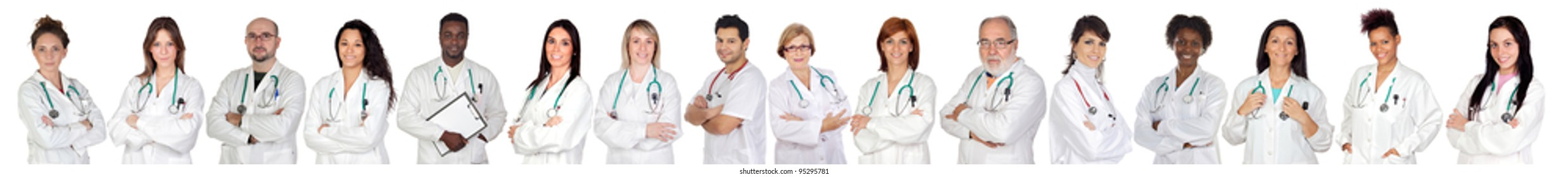Medical team with white uniform on a over white background