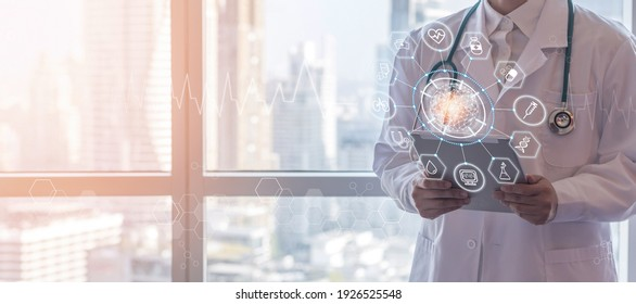 Medical tech science, innovative iot global healthcare ai technology with doctor on telehealth, telemedicine service analyzing online patient health record information data in hospital lab background